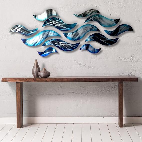 Fresh Large Metal Wall Sculpture Blue Wave Tropical Design Modern NW73