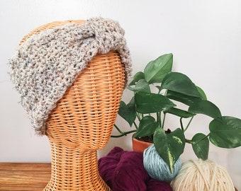 Crochet Turban Headwrap in Oatmeal