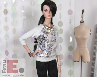"Fashion Doll Sweater ""Snake Foil"" - silber"