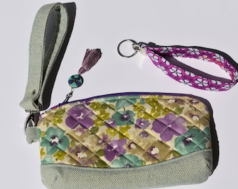 Clematis Wristlet. Quilted Bag. Wristlet Clutch.  Purse Organizer. Gift for Her. Pretty Floral Bag. Butterfly Tassel. Purple Keychain.