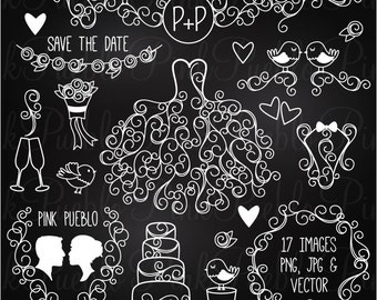 Hand Drawn Chalkboard Wedding Clip Art Clipart Vectors, Chalk Wedding Flourishes Clipart Clip Art Vectors - Commercial and Personal Use