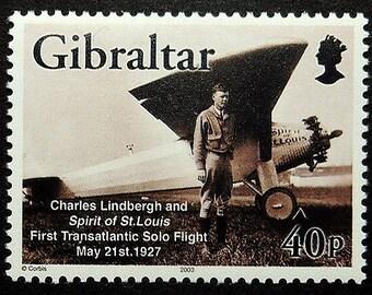 Charles Lindbergh and Spirit of St. Louis Aircraft -Handmade Framed Postage Stamp Art 17714