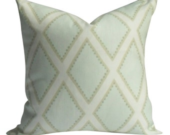 Sarah Richardson, Brookhaven pillow cover in Celadon - SAME Fabric BOTH Sides - Invisible Zipper - 18x18, 20x20, 22x22 and lumbar sizes
