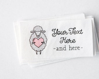 Sheep Logo Labels - Personalized Knitters' Tags - Organic Cotton Crochet Labels, Customized