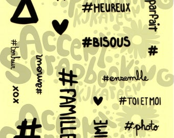 """Transparent stickers """"Hashtags"""" (Design by KareenBH)"""