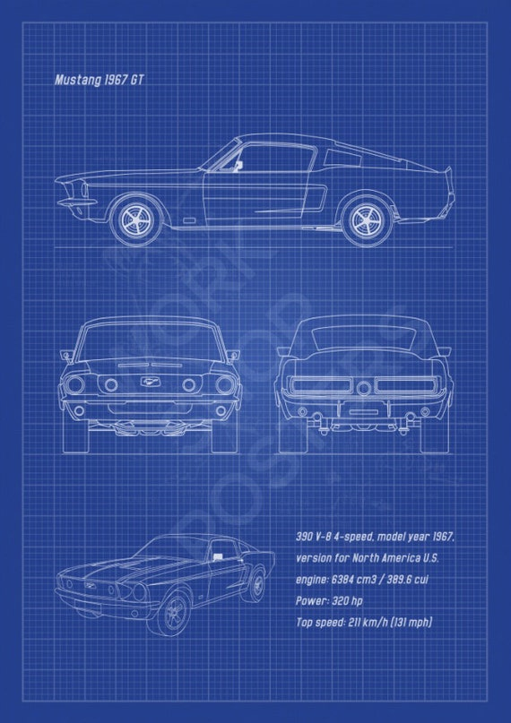 Mustang 1967 gt fastback vertical blueprint poster black like this item malvernweather Images
