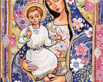 Madonna and child, Panagia Eleousa, Virgin Mary Jesus painting, mother child, christian folk art, motherhood, feminine decor print 8x11+