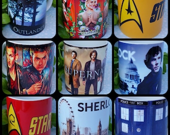 Mugs: Supernatural, Doctor Who, sherlock, Outlander, Star Trek, Orange is the new black