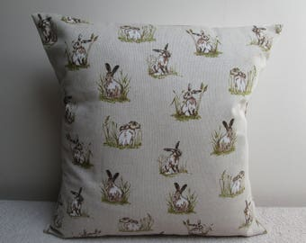 Mini Hares/Rabbits Linen Look Cushion Cover Pillow Cover 16""