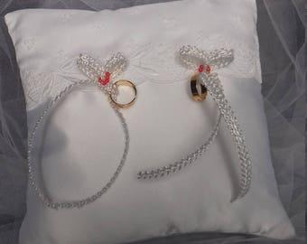 White satin wedding ring cushion
