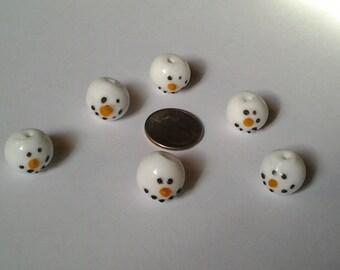 Lampwork Snowman Beads