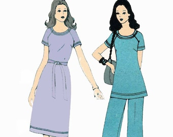 1970s T Shirt Dress Pattern Tunic Top and Elastic Waist Pants Sewing Pattern Simplicity 5556 Plus Size 20 Bust 42 UNCUT