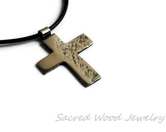 Cross Necklace for Men, Stainless Steel Cross, Wrought Steel Cross Necklace, Hammered Cross, Abstract Mans Cross Pendant, Art Cross Necklace