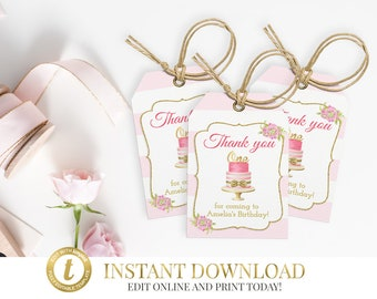 Thank You Tags, Favor Tags, Thank You Tag, First Birthday Favor Tags, INSTANT DOWNLOAD, Printable, Girl Birthday, Party Favor Tags, Pink
