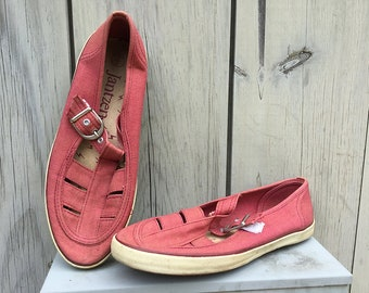 Vintage shoes | 1980s Jantzen Nantucket red canvas slip-ons with cutouts