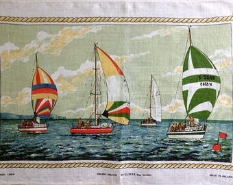 Tea Towel Souvenir 'Racing Yachts' by Ulster 100% Irish Linen Vintage 1970's Tea Towel Nautical Theme Boats on Water