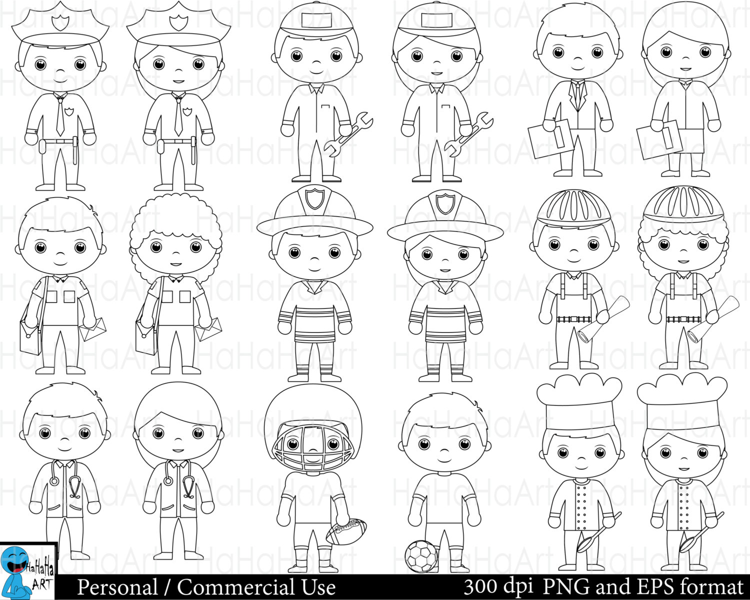 Outline Professions Set Clipart Digital Clip Art Graphics
