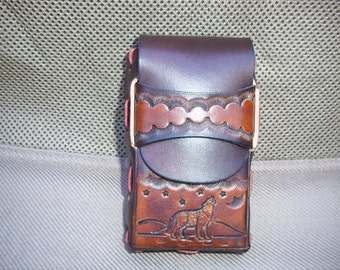 Leather Cigarette Case with Howling Wolf