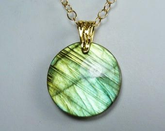 Large Labradorite and Gold Necklace, Super Flashy Large Luminous Labradorite Pendant, Brilliant Iridescent Golden Green and Aqua Flash