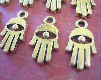 Tiny Hamsa Hand of Fatima 15mm lot of 10 Amulet Brass- Gold-tone evil eye protection