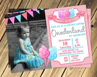 Cotton Candy Onderland Birthday Invitation With Photo Print Your Own