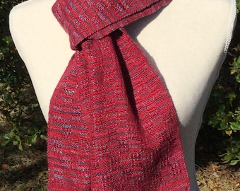 Handwoven Scarf - Hand Woven  Scarf - Red Striped Hand Woven Scarf Gift