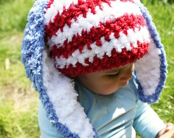 3 to 6m July 4th Baby Red White Blue Bunny Hat Baby Patriotic USA Hat Crochet Baby Hat Stars and Stripes Beanie Bunny Ears Easter