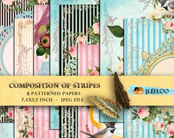 COMPOSITION of STRIPES 8 postcard - Digital collage sheet papers bird flower texture lined scrapbooking jpg instant download - pp124