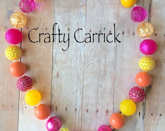 Turkey - Thanksgiving - Thanksgiving Turkey - Fall - Pink, Orange, and Yellow - Bright Colors - Chunky Bead Necklace