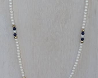 Avon Faux Pearls with Navy and Gold Tone Bead 17 1/2 Inch Necklace - Vintage, Made in 1970s