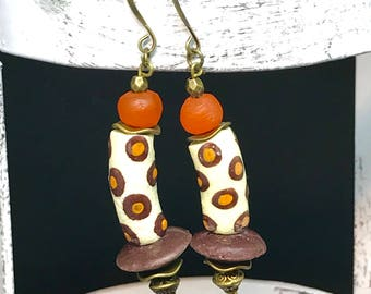 Orange and Brown African Painted Glass Earrings