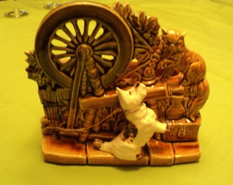 Vintage Spinning Wheel--Scotty Dog and Cat--Gold Green Glaze