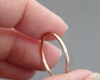 Rose Gold Ring gift for mum hammered Thumb Ring hammered stack ring choose your size