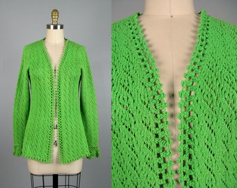 Vintage 1960s Green Crochet Sweater 60s Open Front Knit Cardigan Size M