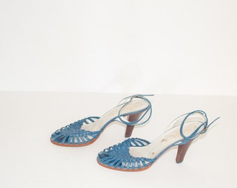 1970s PEEP TOE Blue Leather WOVEN Strappy Heels