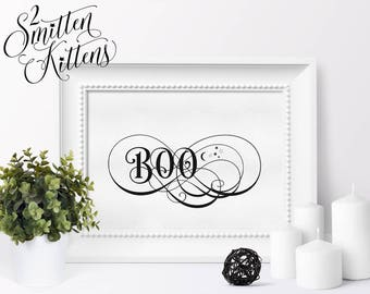 Boo Printable Halloween Art, Boo Halloween Wall Art, Calligraphy Halloween Printable Sign, Instant Download, Halloween Printable Art, FANCY
