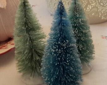 "6"" bottle brush trees 3 pc set AQUA BLUE GREEN  decoration vintage style"