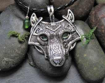 Norse Forest Wolf Necklace, Green Eyed Wolf, Viking Wolf Necklace, Wolf Jewelry, Norse, Wolf Necklace, Viking, Men Jewelry, Gift for Him