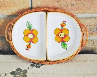 Japanese vintage 1960s split serving dish in wicker carrying tray, basket; gift idea, housewarming