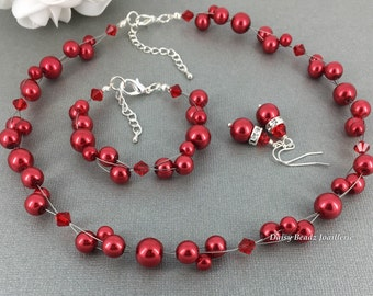 Valentine's Day Jewelry Red Necklace Floating Necklace Set Illusion Jewelry Set Gift for Her Maid of Honor Christmas Jewelry Party Jewelry