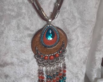 hippie chic Brown coral necklace turquoise feather charms on a toy resin