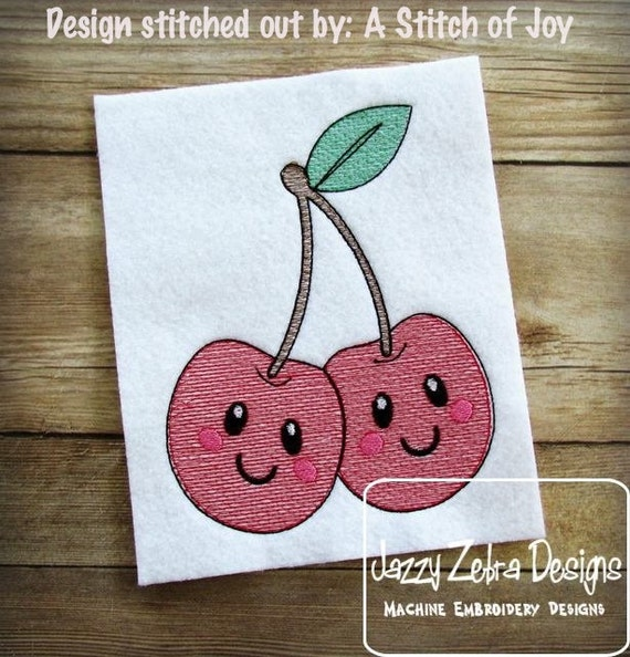 Cherries 104 with Face Sketch Embroidery Design - cherries Sketch Embroidery Design - cherry Sketch Embroidery Design - fruit Sketch