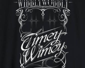 Doctor Who  t-shirt Tardis Wibbly Wobbly Timey Wimey Whovian Typographic Tee