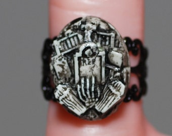 Halloween Jewelry - Gothic Ring  - Creepy Cute Miniature Cemetery   Ring -  Horror Psychobilly Jewelry