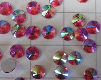10mm Round 40 Flatback Acrylic Pink AB Rivoli Rhinestones (J-K)