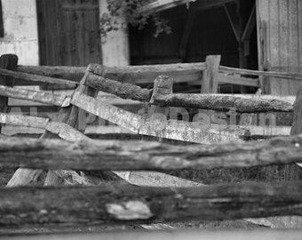 Farm Fence photograph rural Ontario black and white photo