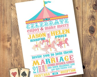 Love Carousel Invitation, Carnival Theme, Wedding Set, Printable, Engagement, Baby Shower, Fair Birthday Party, Colorful Carousel, Circus
