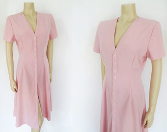 Pink Dress, UK14, Shirt Dress, Vintage Clothing, Women's Vintage, Long Dress, Pink Vintage, Boho, Festiva Dress, Buttoned Dress