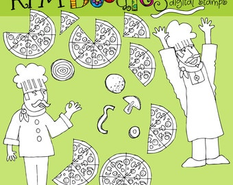 Rafa's Pizza time Digital blackline stamps