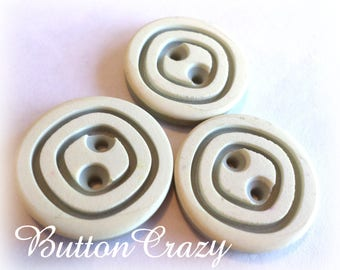 3 Vintage Green and Cream Swirl Buttons 7/8 Inch